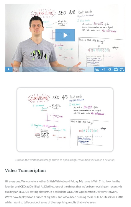 moz video transcriptions for seo