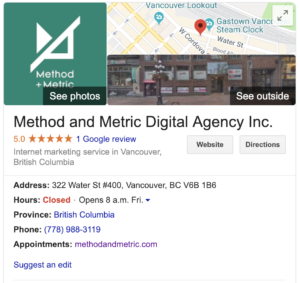 Google business listing of method and metric