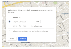 Google my business set service area