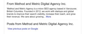 Google my business listing description