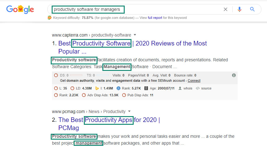seo keyword example in google search results