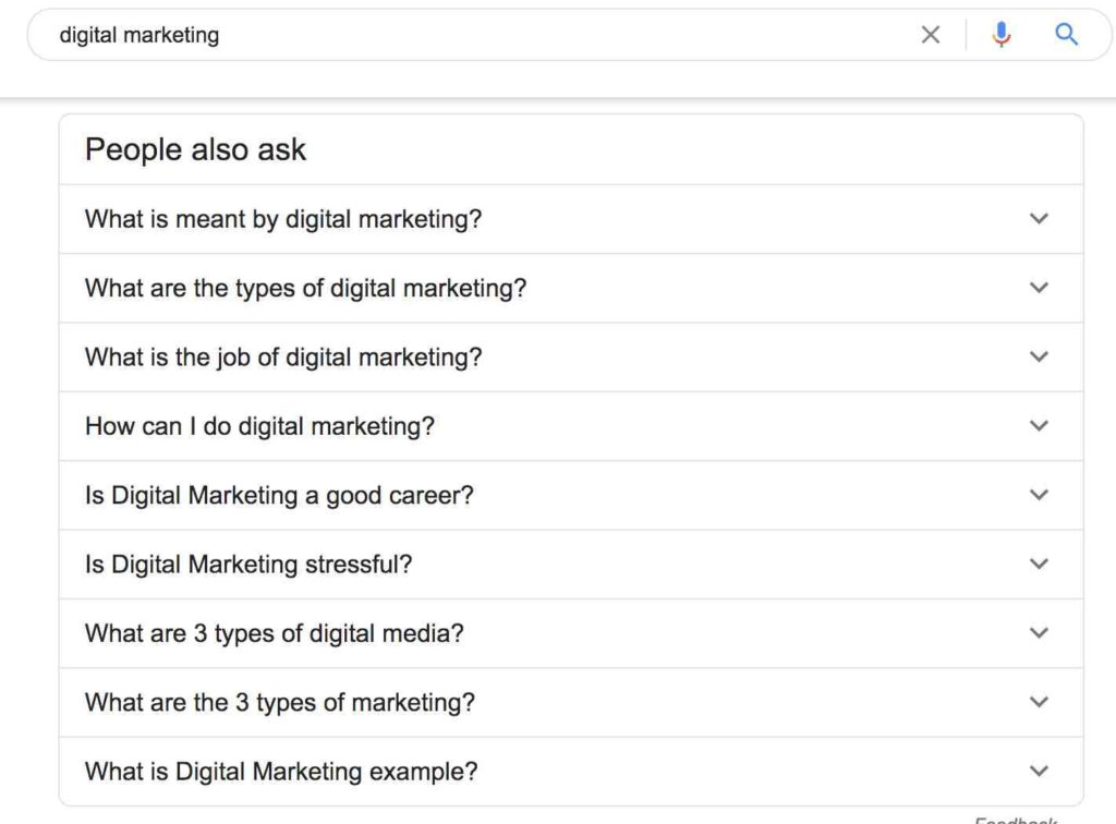people also ask digital marketing example