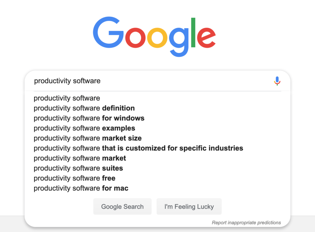 google's predictive answers example for seo