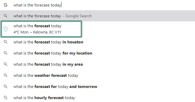 zero-click search example in the google chrome address bar
