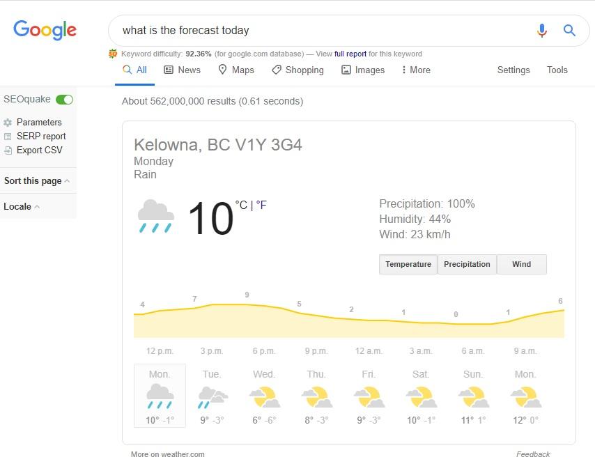 example of zero-click searches in google