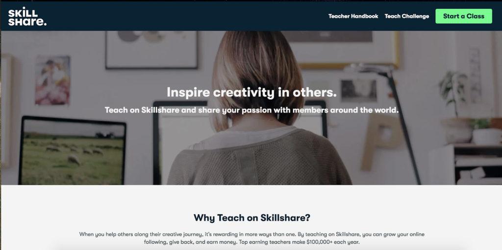 skillshare home page screenshot