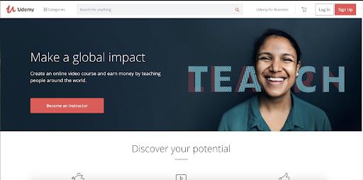 udemy website home page screenshot