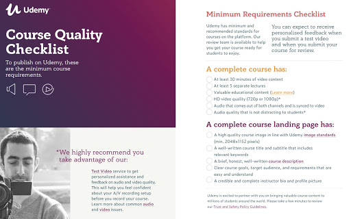 udemy requirements for creating a course