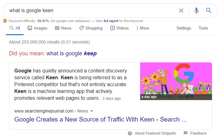 example of answer box or paragraph featured snippet in google search