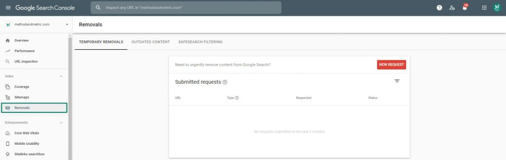 google search console removals tool example