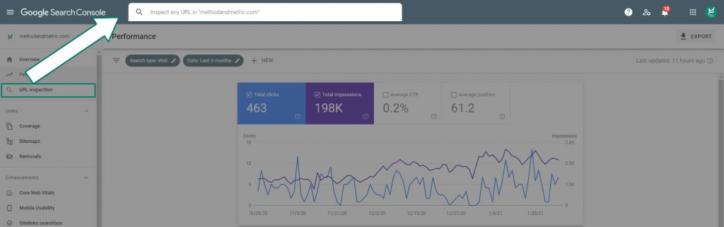 google search console url inspection tool example