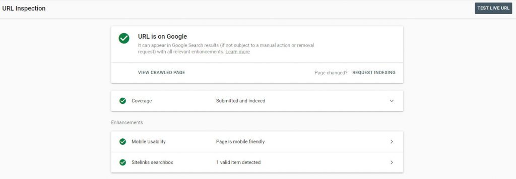 google search console url inspection tool screenshot