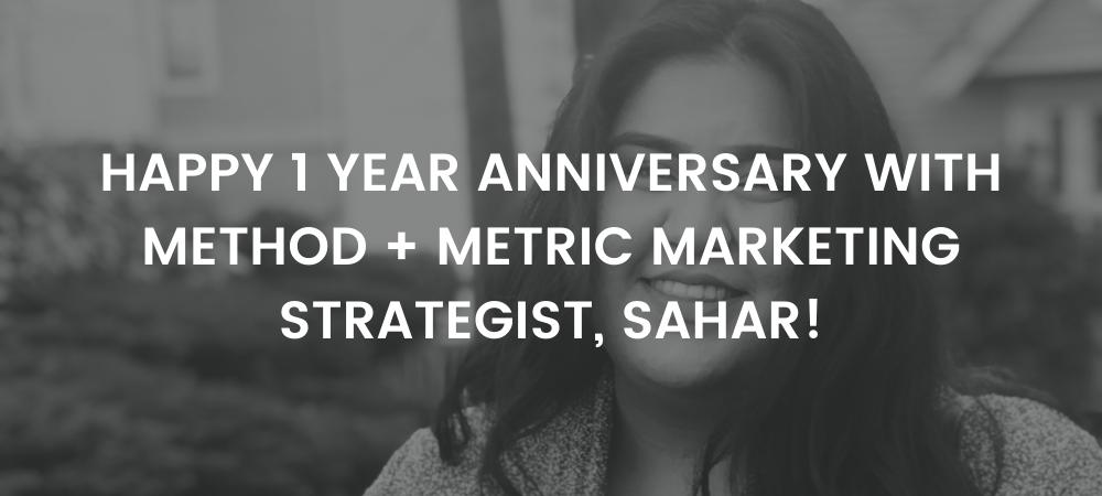 Happy 1 Year Anniversary at Method + Metric Sahar!